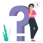 Illustration woman leaning against a question mark speaking about money