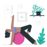 Illustration woman stretching